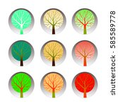 set of nine trees  which are... | Shutterstock .eps vector #585589778