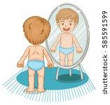 little boy looking in the... | Shutterstock .eps vector #585591599