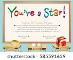 certificate template with books ... | Shutterstock .eps vector #585591629