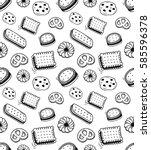 biscuit doodle seamless... | Shutterstock .eps vector #585596378