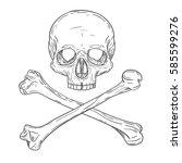 skull with two cross bones in... | Shutterstock .eps vector #585599276