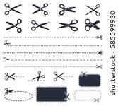 scissors icons and coupons with ... | Shutterstock .eps vector #585599930