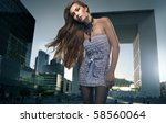 blonde beauty over urban... | Shutterstock . vector #58560064