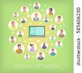 social network concept notebook ... | Shutterstock .eps vector #585606230