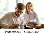 husband secretly cheating on... | Shutterstock . vector #585608564