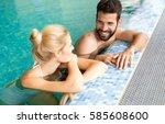 happy married couple relaxing... | Shutterstock . vector #585608600