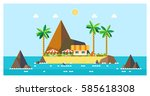 tropical island. bungalows on... | Shutterstock .eps vector #585618308