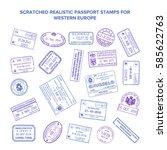 scratched bitmap visa travel... | Shutterstock . vector #585622763