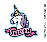 Unicorn With Pink Ribbon On A...