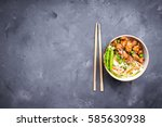 asian style noodles with... | Shutterstock . vector #585630938