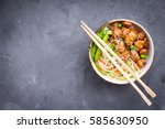 asian style noodles with... | Shutterstock . vector #585630950