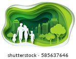 paper art carving of family and ... | Shutterstock .eps vector #585637646