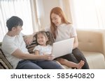 portrait of happy asian family... | Shutterstock . vector #585640820