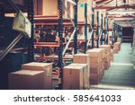 crates and boxes on a shelves... | Shutterstock . vector #585641033