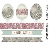 set with easter eggs and...   Shutterstock .eps vector #585647618