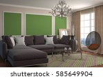 interior with sofa. 3d... | Shutterstock . vector #585649904