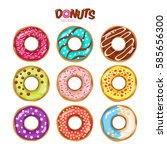 colorful set of glazed donuts... | Shutterstock .eps vector #585656300
