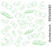 hand drawn green banknotes.... | Shutterstock .eps vector #585660680