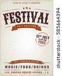 music festival grunge poster ... | Shutterstock .eps vector #585664394