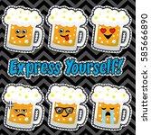 pop art fashion beer glass chic ...   Shutterstock .eps vector #585666890