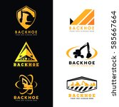 black and yellow backhoe logo... | Shutterstock .eps vector #585667664