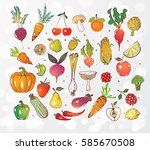 doodle fruits and vegetables on ... | Shutterstock .eps vector #585670508