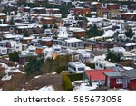 aerial view of a snow covered...   Shutterstock . vector #585673058