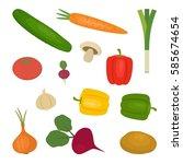 set of vegetables  isolated on... | Shutterstock .eps vector #585674654