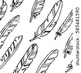seamless vector big feather... | Shutterstock .eps vector #585681590
