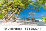 exotic tropical beach banner as ... | Shutterstock . vector #585683144