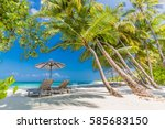 beautiful beach. chairs on the... | Shutterstock . vector #585683150