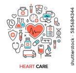 health heart care concept... | Shutterstock . vector #585684344