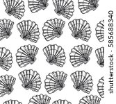seamless pattern with sea shell ... | Shutterstock .eps vector #585688340