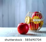 Ripe Red Apple Lying On A Whit...