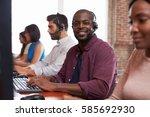 portrait of staff in busy... | Shutterstock . vector #585692930