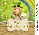 cartoon leprechaun . st.... | Shutterstock . vector #585698276