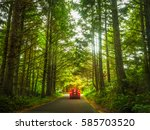 car driving on a road in forest | Shutterstock . vector #585703520