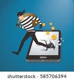 thief hacker stealing money on...   Shutterstock .eps vector #585706394