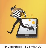 thief hacker stealing money on...   Shutterstock .eps vector #585706400