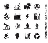 energy icons set. black on a...