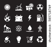 energy icons set. white on a... | Shutterstock .eps vector #585718769