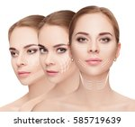 woman faces with arrows over...   Shutterstock . vector #585719639