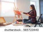 pretty pretty girl artist... | Shutterstock . vector #585723440