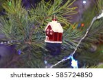 toy house on the christmas tree | Shutterstock . vector #585724850