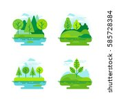 vector set of icons and... | Shutterstock .eps vector #585728384