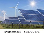 solar cell and wind turbines... | Shutterstock . vector #585730478
