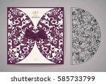 laser cut invitation card.... | Shutterstock .eps vector #585733799