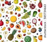 pattern. fresh food. watermelon ... | Shutterstock .eps vector #585734663