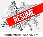 resume word cloud collage ... | Shutterstock .eps vector #585737474