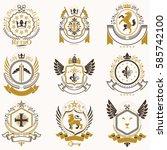 vector classy heraldic coat of... | Shutterstock .eps vector #585742100